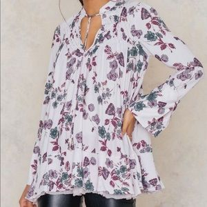 Free people so fine floral printed smock tunic M